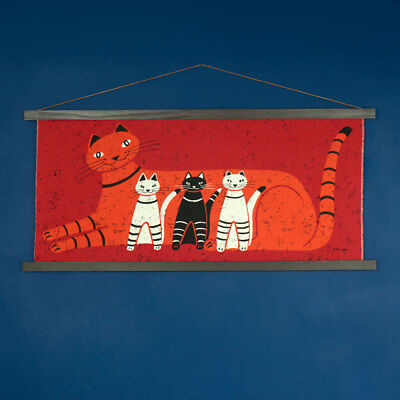 Vintage 1960s 1970s HUGE Retro Cat & Kittens Red Fabric Wall Hanging - Signed