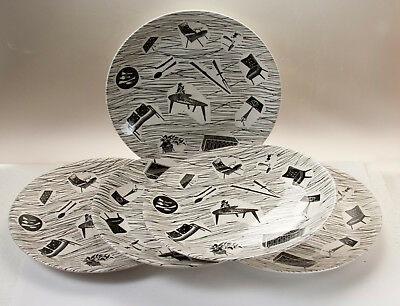 "5x Large Ridgeway Homemaker 1950s Design Dinner Plates 25.3cm / 10"" Early Mark"