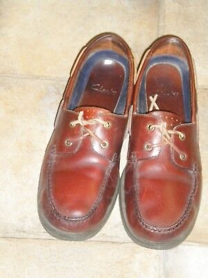 Mens 'Clarks Tan Leather  Deck Shoes Size UK 10