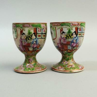 Antique Pair Of Chinese Canton Famille Rose Porcelain Egg Cups C.1920