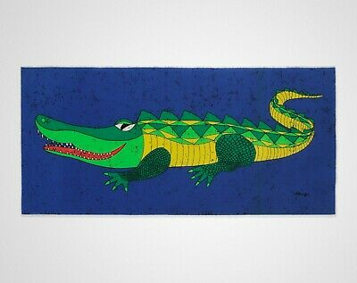 Vintage 1960s 1970s HUGE Retro Crocodile Blue Fabric Wall Hanging - Signed