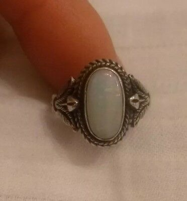 Art Deco Retro Antique Hallmarked Sterling Silver 925 Ring with Australian Opal