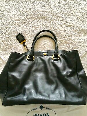 2a3f13daf5b8 **Authentic** PRADA Black Soft Calf Leather Large Shopping Tote Bag BN2103