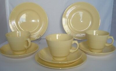 Woods Ware - Jasmine - Yellow - 3 Trios - 3 Cups, Saucers And Tea Plates