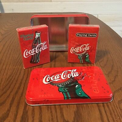 Coca Cola playing  cards in a tin