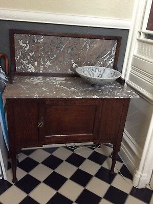 Antique  VIctorian Wash Stand Table Marble Top and Back VGC