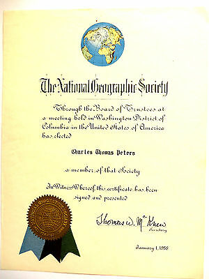 National Geographic Society Certificate 1958