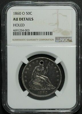 1860 O Seated Liberty Silver Half Dollar NGC AU Details Holed - Almost UNC!
