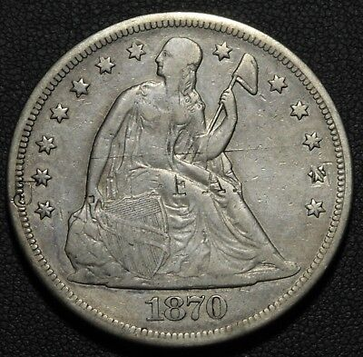 1870 CC Seated Liberty Silver Dollar - Carson City - Nice Details! Counterstamp