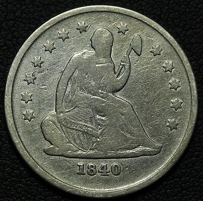 1840 O No Drapery Seated Liberty Silver Quarter - Cleaned