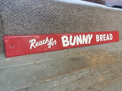 1950's Vintage Reach for Bunny Bread Grocery Store Metal Advertising Sign 28 x 3