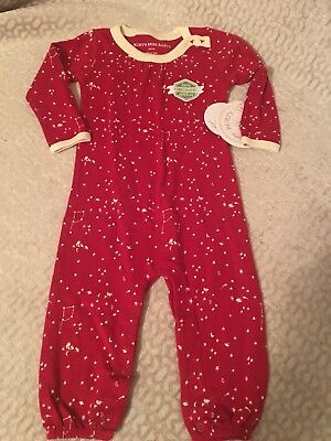 Burts Bees Baby Girl Organic Gathered Coverall Size 3-6 Month Red Little Dipper