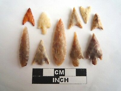 Neolithic Arrowheads x 10, High Quality Selection of Styles - 4000BC - (2137)