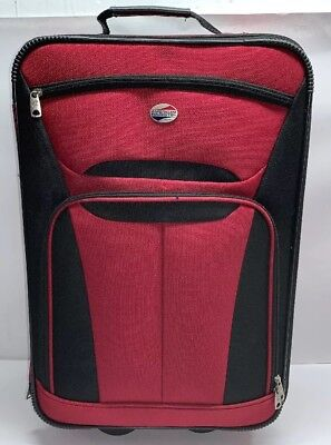 """American Tourister 21""""x14"""" Black/red Spinner Expandable Luggage Carry-On Bag #1"""
