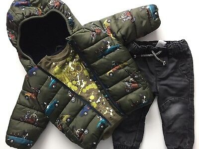 Next Baby Boys Winter Bundle Puffa Jacket Top Stretch Jeans Age 9-12 Months