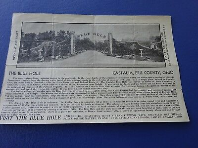 1920's Promtional Flyer, The Blue Hole, Castalia, Erie County, Ohio