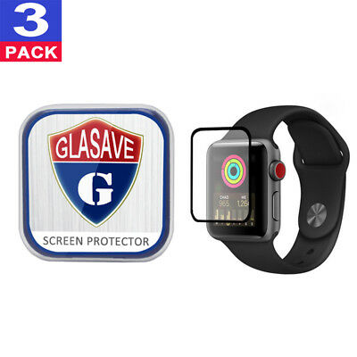 3Pack GLASAVE Apple watch 1 2 3 38mm FULL COVER Tempered Glass Screen Protector
