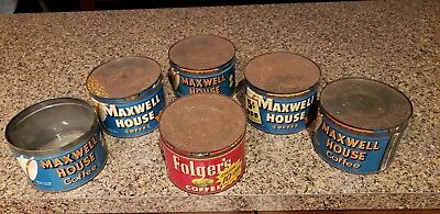 Vintage Lot Coffee Cans  Folgers Maxwell House