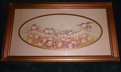 Home Interiors Framed Floral Blue Bird Garden Print Signed Morgie Morrow 21 X 12
