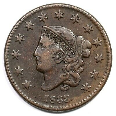 1833 Matron or Coronet Head Large Cent Coin 1c