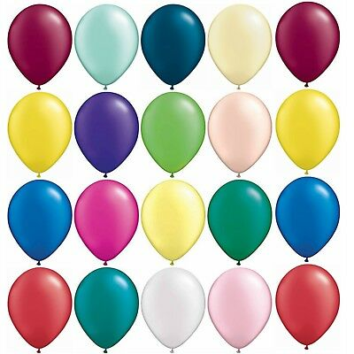 "5,10,25 or 50 QUALATEX 5"" or 11"" LATEX BALLOONS Pearl Metallic Solid Colours"