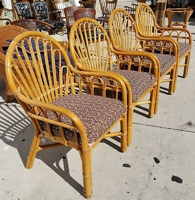 Set of 4 High End Vintage Bamboo Rattan Bentwood Hollywood Regency Armchairs
