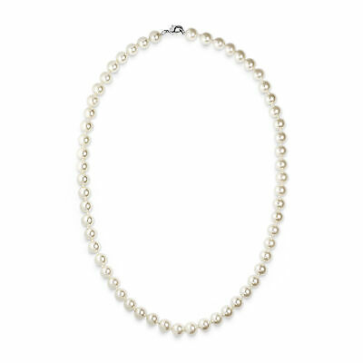 Bridal Elegant 8mm Faux White Pearl Necklace 20 Inch - with Silver Plated Clasp