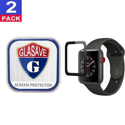 "(2Pack) GLASAVE Apple watch 1 2 3 38mm ""3D CURVED"" FULL Tempered Glass Protector"