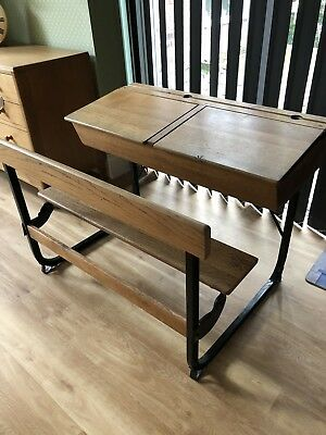 Antique Double Desk With Bench