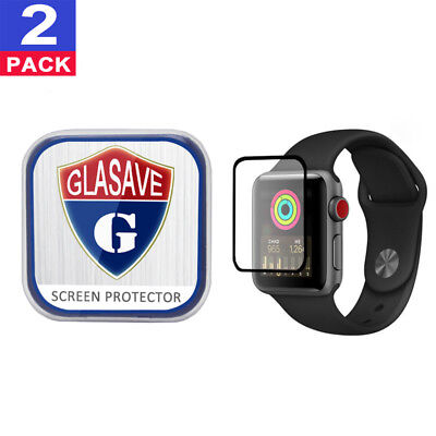 2Pack GLASAVE Apple watch 1 2 3 42mm FULL COVER Tempered Glass Screen Protector