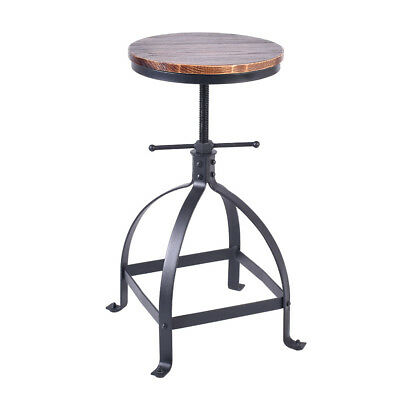 Vintage Bar Stool Swivel Wood Seat Kitchen Coffee Chair Height Adjustable 25''