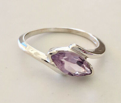 925 Sterling Silver Amethyst Ring Marquise Gemstone Stack Stackable 6 7 8 9