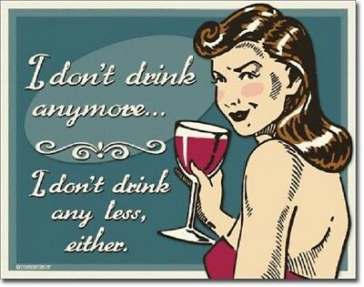 Schonberg Don't Drink Anymore Less Either Funny Retro Wall Decor Metal Sign