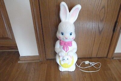 Vintage 1995 Empire Easter Bunny Rabbit w/Baby Lighted Blow Mold w/Cord-EXC