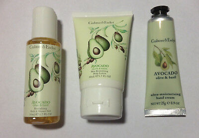 New Crabtree & Evelyn Avocado Hand THerapy & Bath Shower Gel & Body Lotion Set