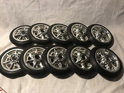 """6"""" Solid Rubber Wheel Chrome Rim Scooter Wheelchair Cart Utility Lot Of 4 Wheels"""
