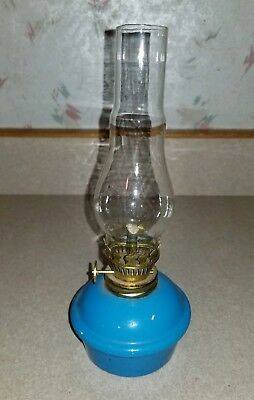 Vintage Enesco Japan Small Blue Oil Lamp Ceramic Pottery w/ Glass Chimney Globe