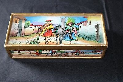 Vintage Mexican Glass and Wood Jewelry Box