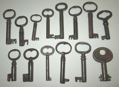 Lot Of 14 Vintage Open Barrel Skeleton Keys Ornate Lock Box Key Cabinet Key