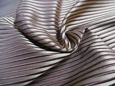 "RAISED STRIPE SILK SUITING~DARK PLUM/PARCHMENT~MEDIUM WEIGHT~DOLL FABRIC~12""x27"""