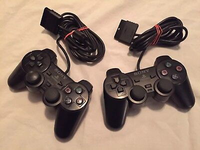 Official OEM Sony Playstation 1 PS1 Controller Set Lot of 2 Black