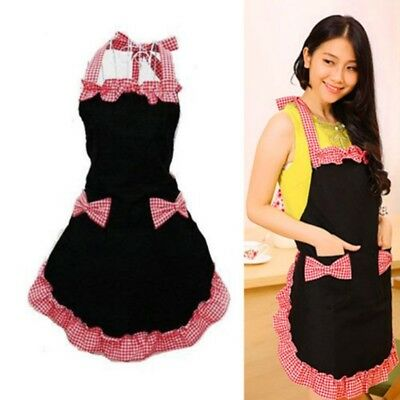 Womens Cute Cooking Apron Bib Apron Dress Kitchen Bowknot With Pocket Maid Apron