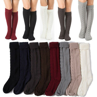 2018 Womens Winter Cable Knit Over Knee Long Boot Thigh-High Warm Socks Leggings