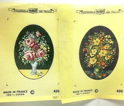 Two Vintage Margot France Petit Point Floral Printed Needlepoint Canvas 428 426