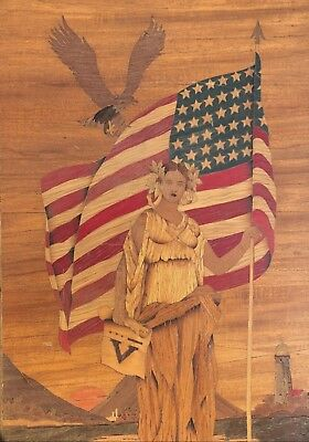 Vintage 1940s WWII Victory Lady American Flag Marquetry Folk Art Wood