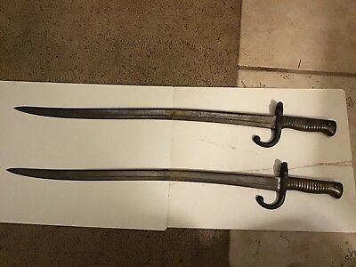Antique Pair Of French 1866 Chassepot Bayonet Sword 1873 (2) Military