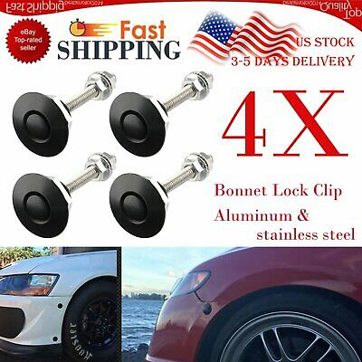 4pcs Universal Push Button Billet Hood Pins Lock Clip Set Car Quick Latch Black