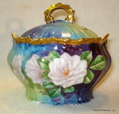 Antique Hand Painted Limoges Flambeau LDBC Covered Jar signed by artist BAIS
