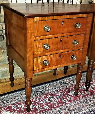 3 drawer Work Stand, nightstand, best- tiger maple, curly cherry, c1820,