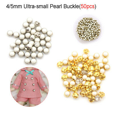 50pcs Mini Eye Tiny Small Doll Figure Clothes Buckles Sew Pearl Button 4mm/5mm